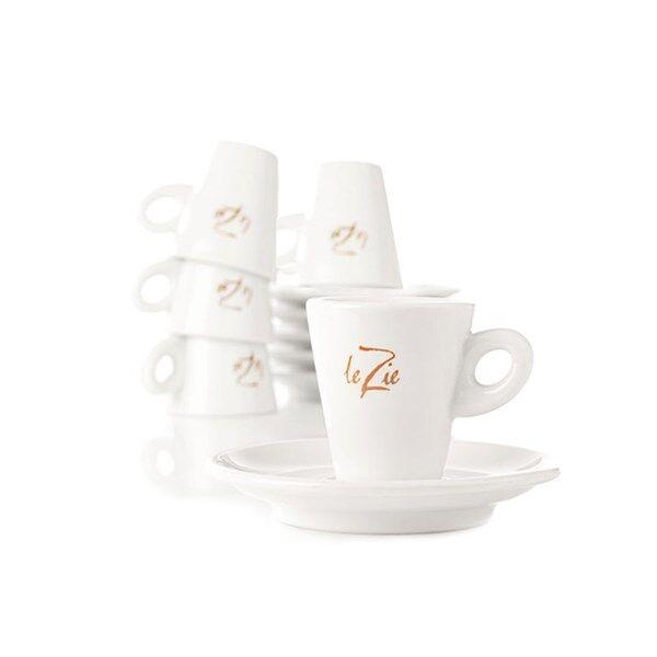Le Zie Espressokoppar med Fat 6-pack Porslin Vit