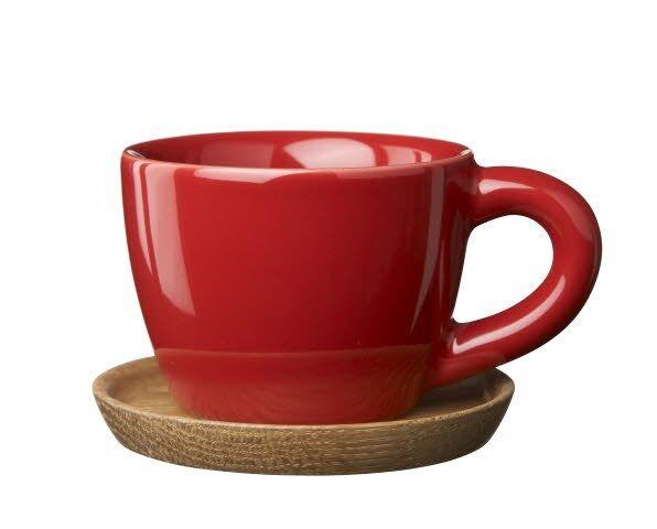 Rörstrand Höganäs Keramik Espressokuppi puulautasella 10 cl Omenan punainen