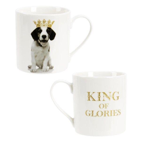 Modern House King of Animal Kopp Hund 37 cl Guld New Bone China