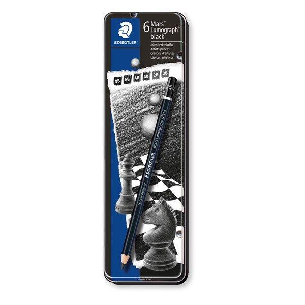 Luonnostelukynä STAEDTLER Mars Lumograph 6 kpl Black Artist Premium