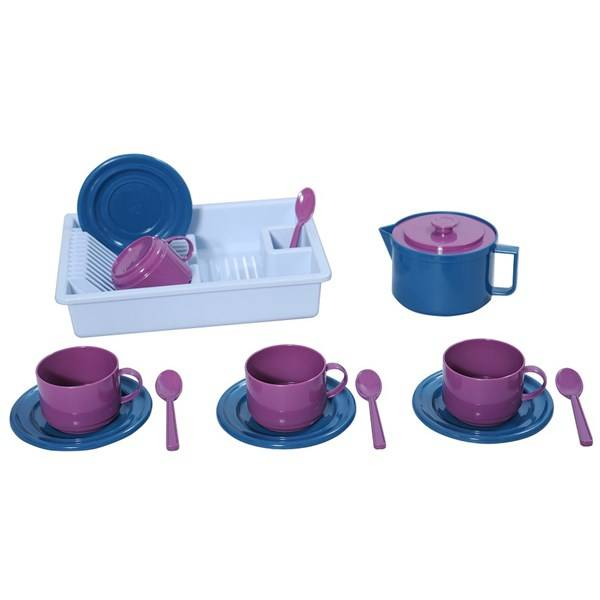 Kaffeset med diskställ, 15 delar, Plasto