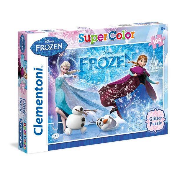 Disney Pussel Disney Frozen Glitter, 104 bitar, Clementoni