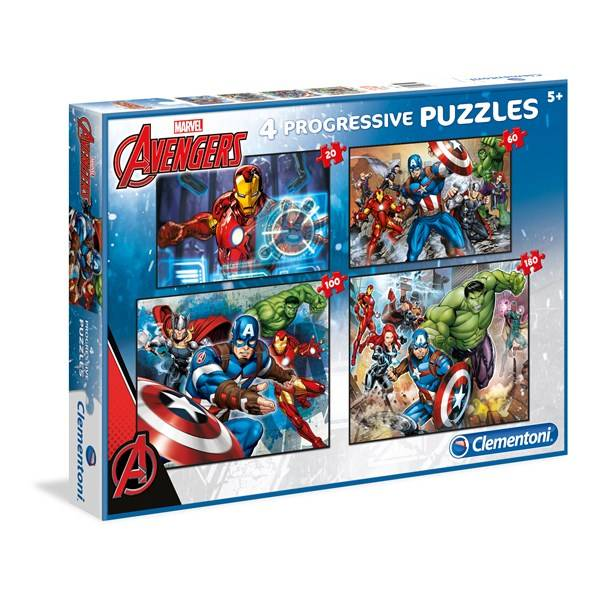 Pussel 4 i 1 Avengers, 360 bitar, Clementoni