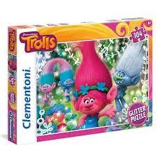 Trolls, Glitter pussel, 104 bitar