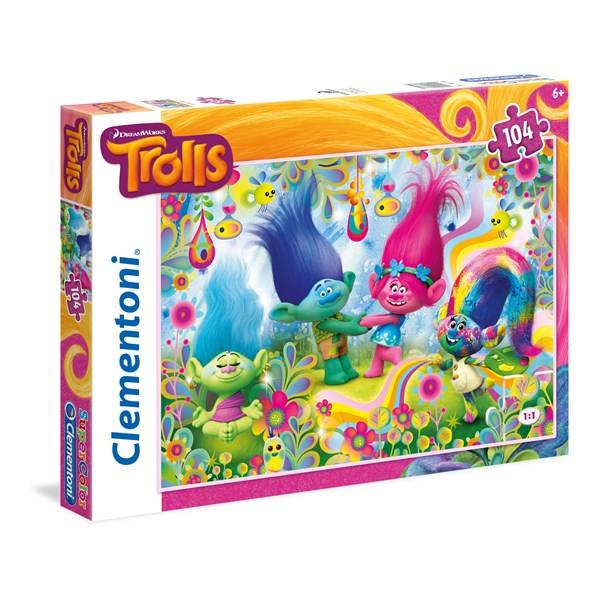 Pussel SuperColor Trolls, 104 bitar, Clementoni