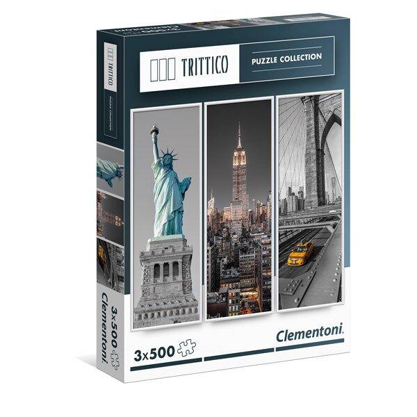 Pussel Trittico, New York, 3x500 bitar, Clementoni