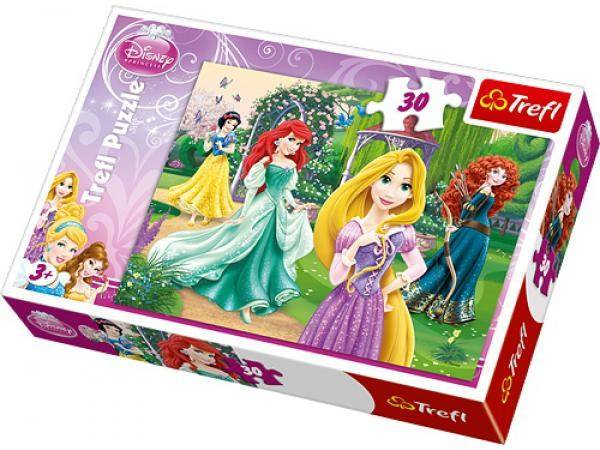 Disney Princess Rapunzel, Merida, Ariel och Snövit- Pussel, 30 bitar, Trefl