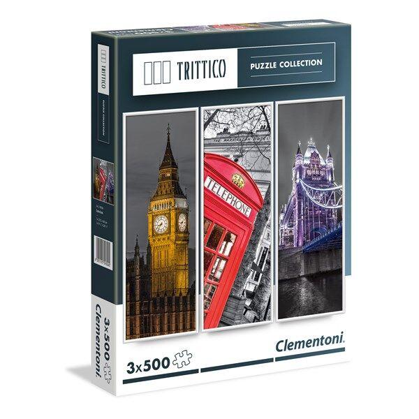 Pussel Trittico, London, 3x500 bitar, Clementoni