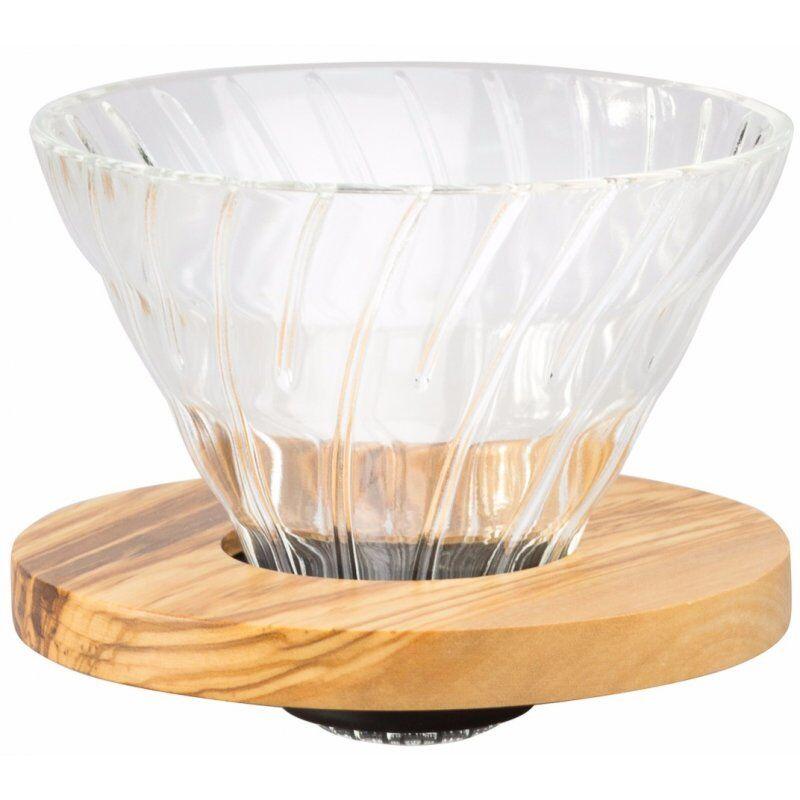 Hario Olive Wood V60 koko 02 lasinen suodatinsuppilo puukauluksella