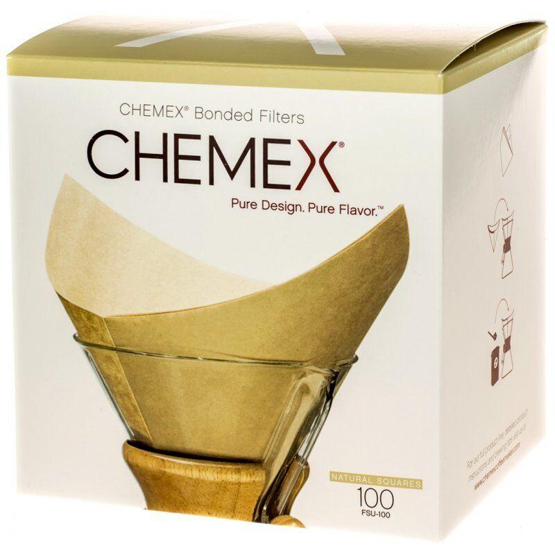 Chemex valkaisemattomat neliön muotoiset suodatinpaperit 6. 8 ja 10 kupin kannuun 100 kpl