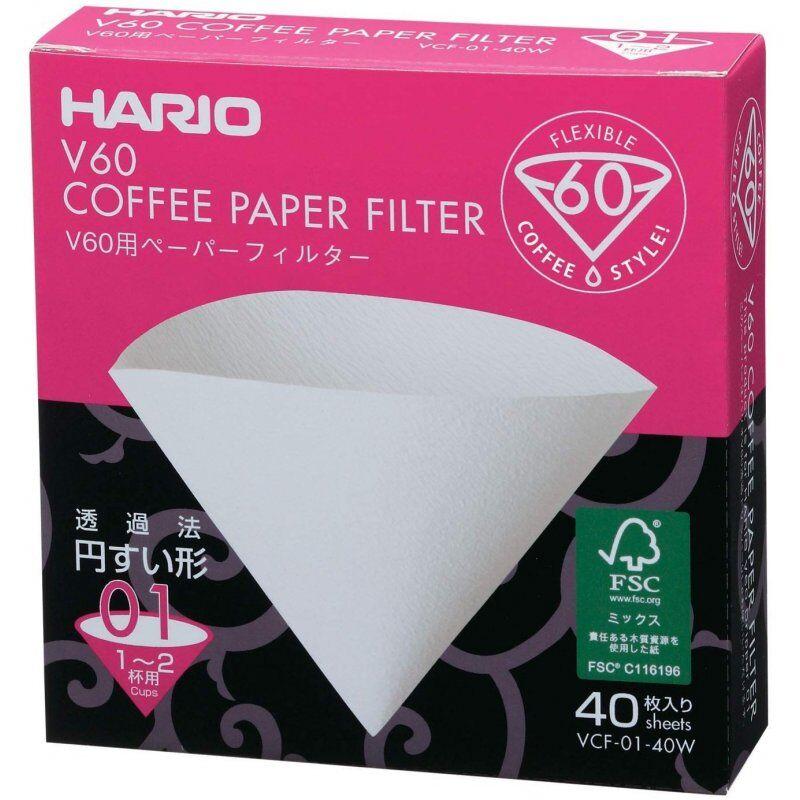 Hario V60 suodatinpaperi koko 01. 40 kpl