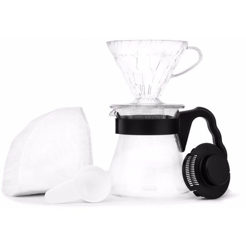 Hario V60 Pour over Kit. musta/kirkas