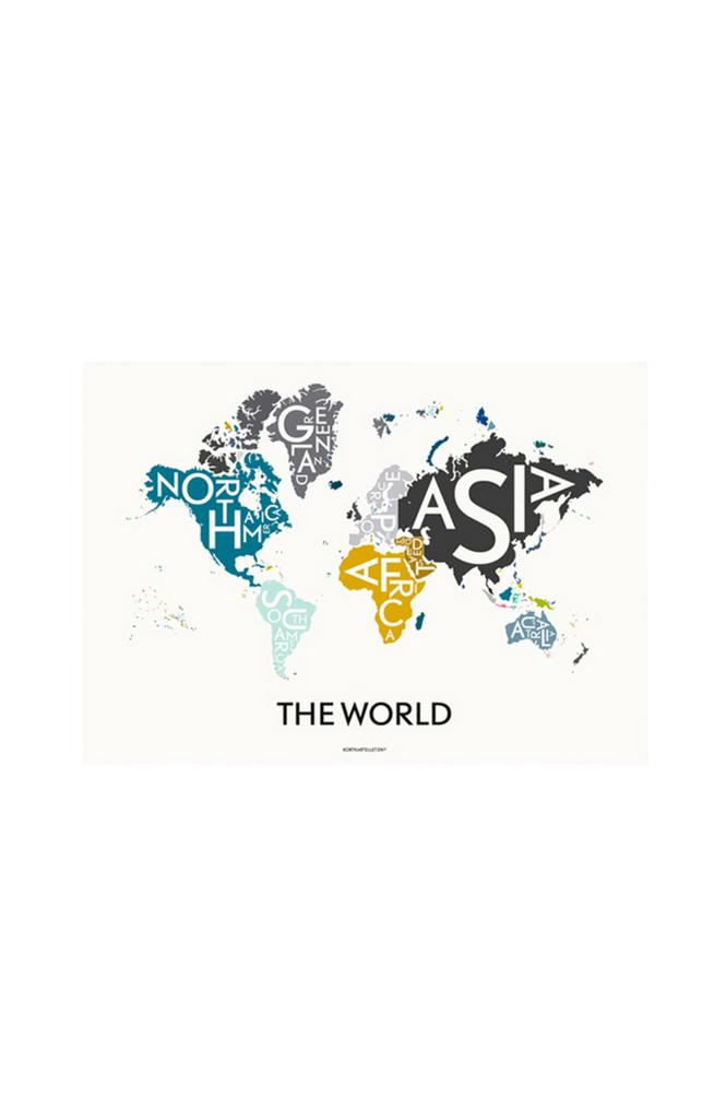 Kortkartellet The World juliste, monivärinen 70x100 cm