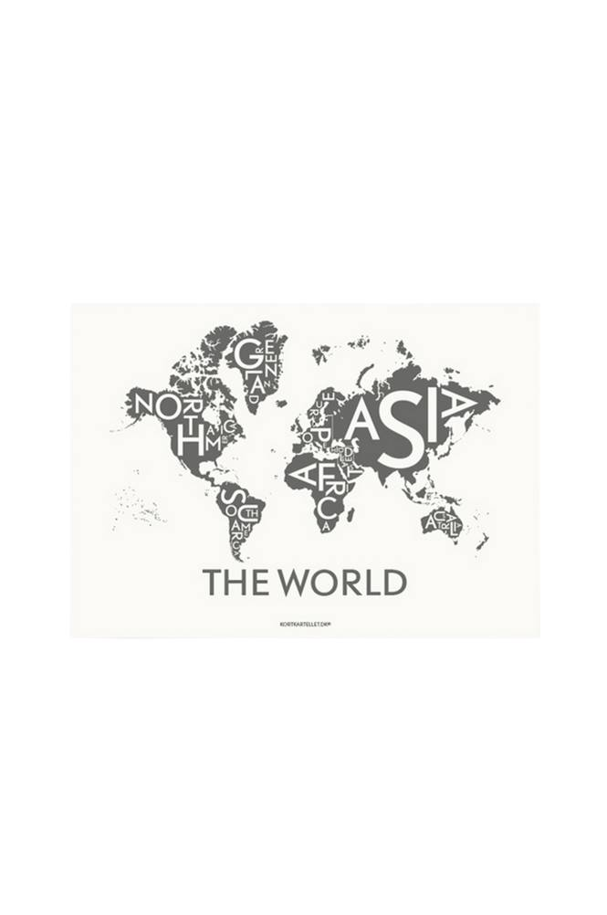 Kortkartellet The World Dark Grey juliste 50x70 cm