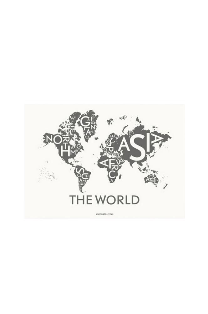 Kortkartellet The World Dark Grey -juliste 50x70 cm