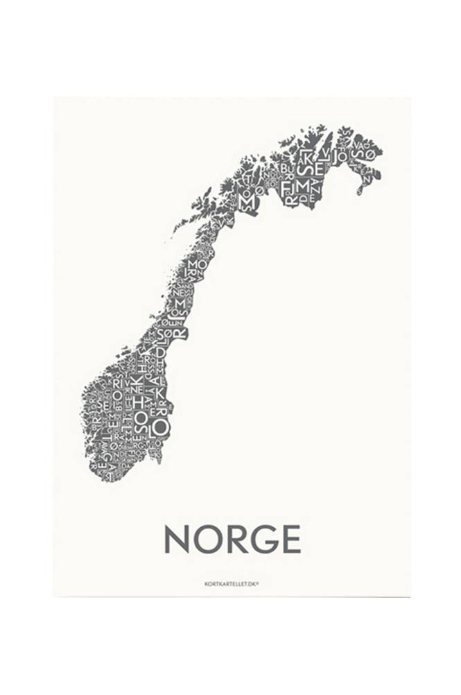 Kortkartellet Norja-juliste 50x70 cm