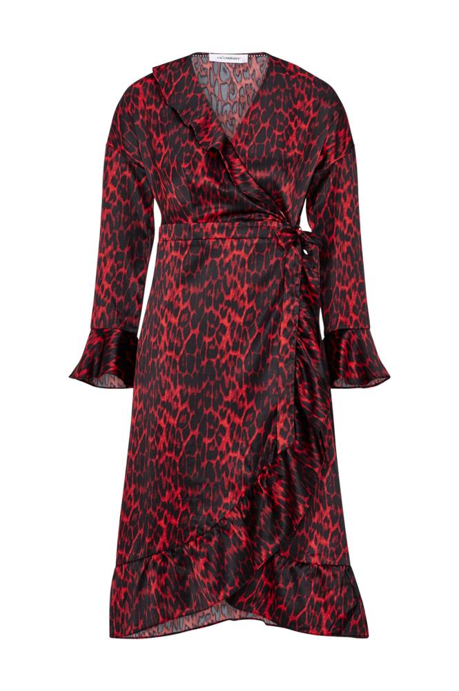 co'couture Red Animal Sateen Frill Dress -kietaisumekko