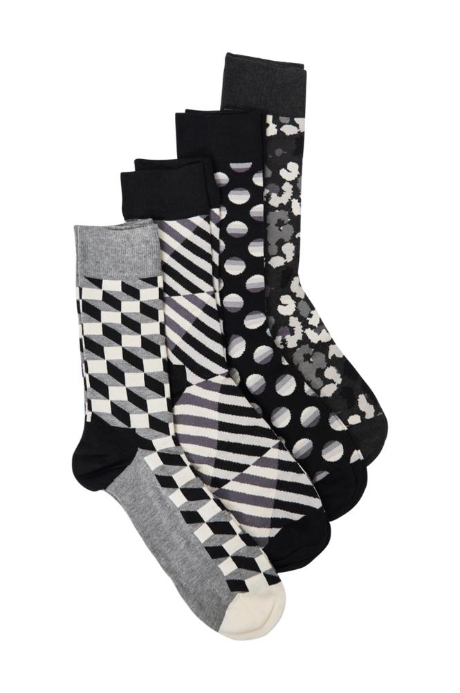 Happy Socks Seasonal Black & White Gift Box -sukkalahjapakkaus, 4 paria