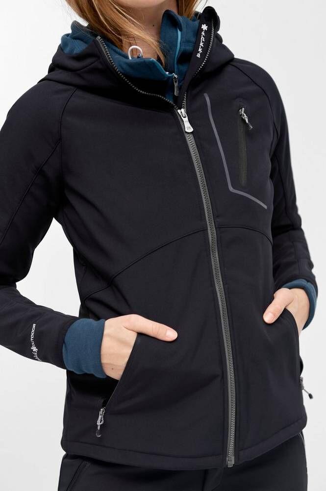 Áhkká Softshell-takki, jossa huppu