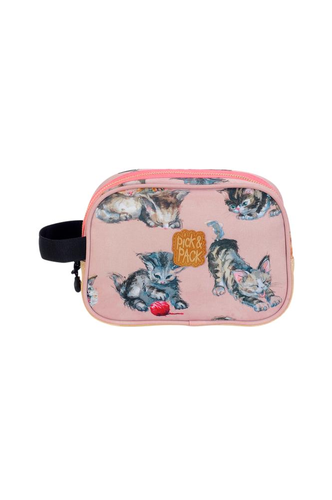 Pick & Pack Toiletcase kittens rose
