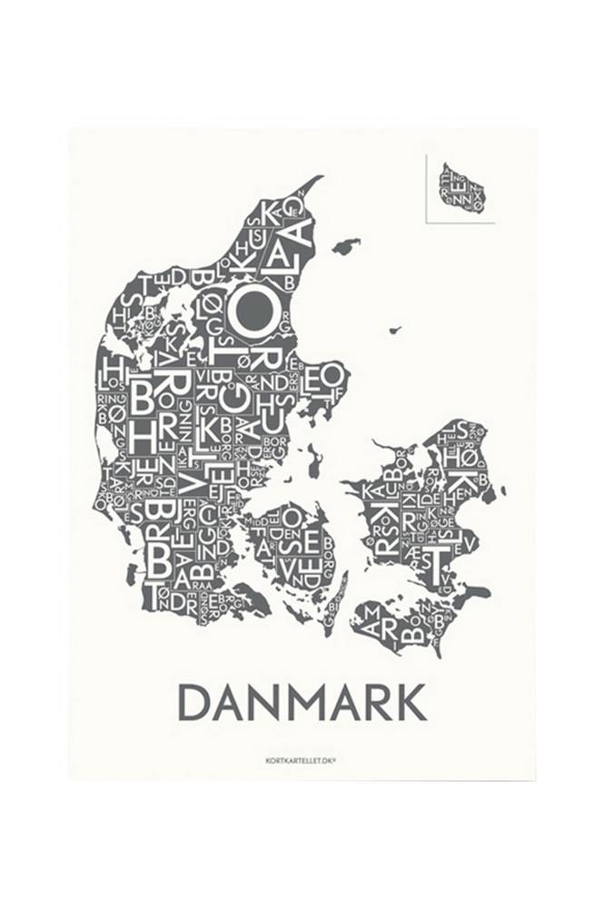 Kortkartellet Tanska-juliste 50x70 cm