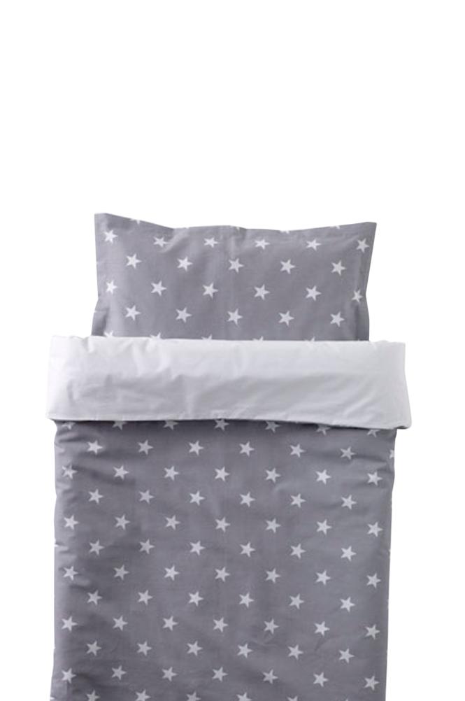 NG Baby Pinnasängyn Star-pussilakana, harmaa 100 x 130 cm