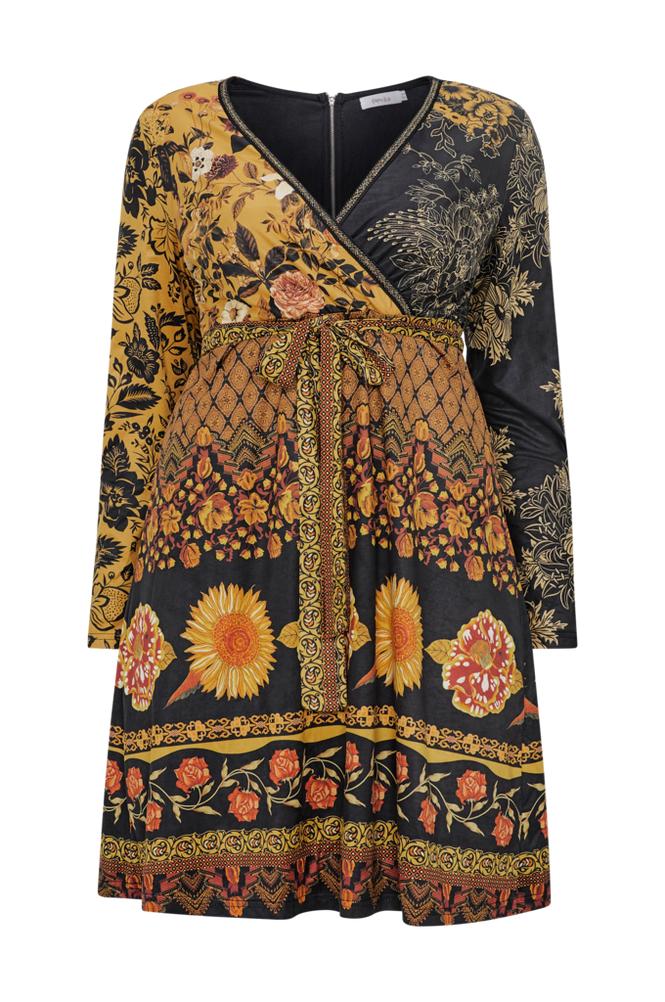 Paprika Printed Suede Dress -mekko