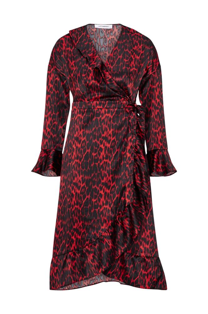 co'couture Red Animal Sateen Frill Dress kietaisumekko