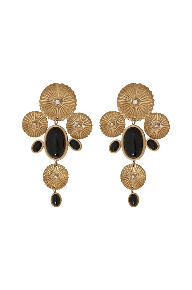 Edblad Crinkle Onyx Maxi Earrings -korvakorut
