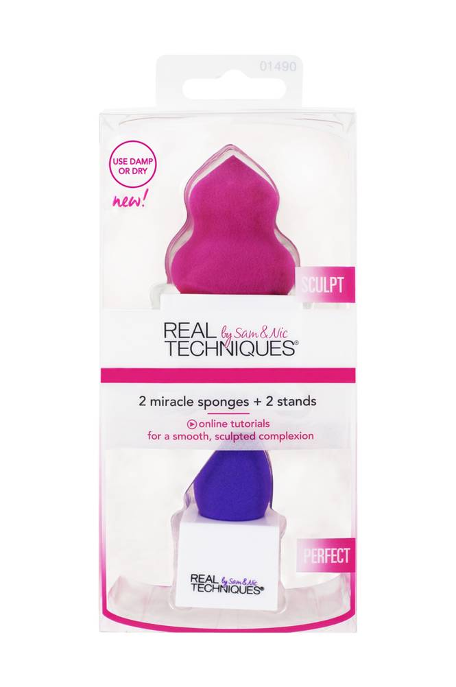 Real Techniques 2 Miracle Sponges + Stands