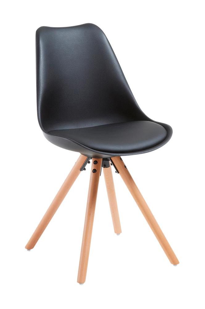 Ellos LARS tuolit puuta/mustaa muovia, 4/pakk.