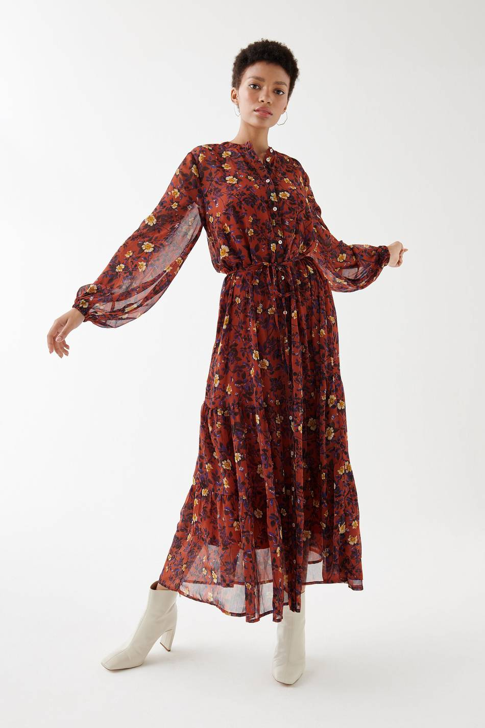 Image of Gina Tricot Alma chiffon maxi dress Fall flower (9197)
