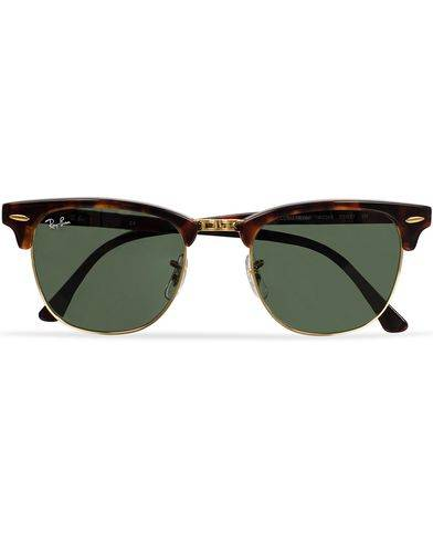 Ray Ban Clubmaster Sunglasses Mock Tortoise/Crystal Green
