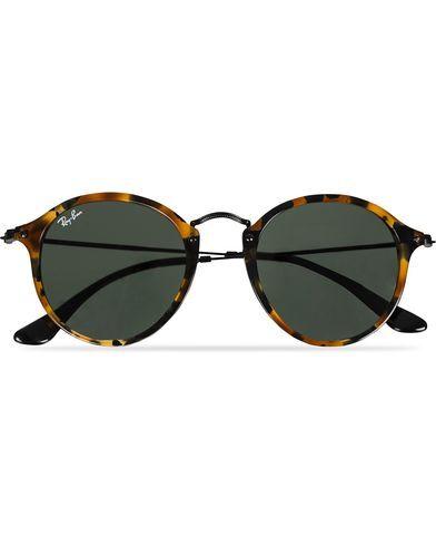 Ray Ban RB2447 Acetat Round Sunglasses Spotted Black Havana/Green