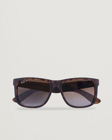 Ray Ban 0RB4165 Justin Polarized Wayfarer Sunglasses Havana/Brown
