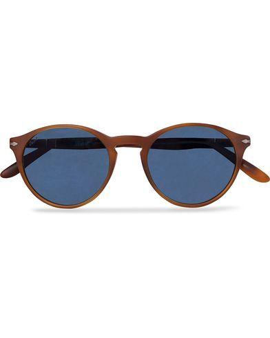 Image of Persol 0PO3092SM Round Sunglasses Terra Di Siena/Blue Mirror