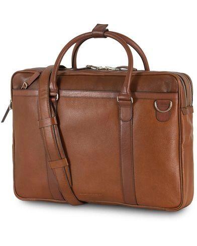 Tiger of Sweden Printel Leather Briefcase Brown