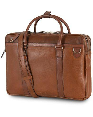 Tiger of Sweden Printel Leather Briefcase Brown