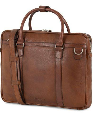 Tiger of Sweden Marquet Leather Briefcase Brown