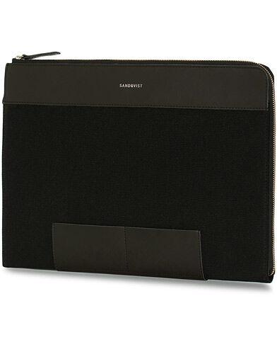 Sandqvist Melvin 100% Organic Cotton Canvas Laptop Case Black