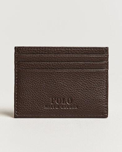 Image of Ralph Lauren Pebble Leather Slim Card Case Brown