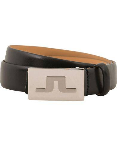 J.Lindeberg Bridge Logo Leather 3 cm Belt Black