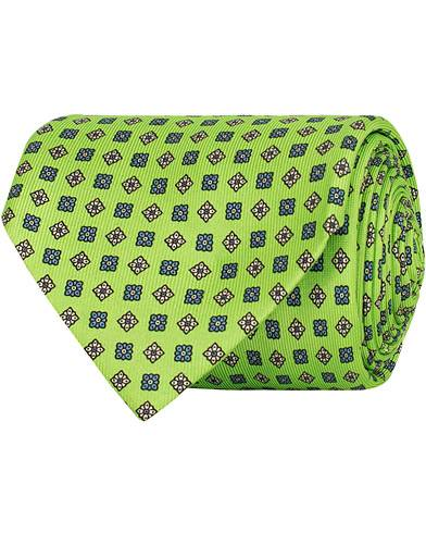 E. Marinella 7-Fold Foulard Printed Silk Tie Lime  8 cm