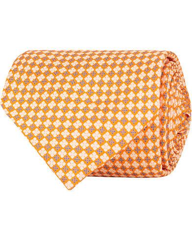 E. Marinella 7-Fold Printed Micro Pattern Silk Tie Bright Orange 8 cm