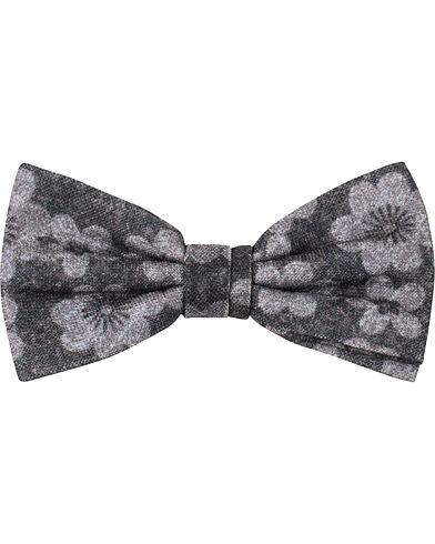 Amanda Christensen Wool Printed Flower Pre Knot Tie Grey