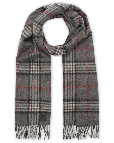 Amanda Christensen Merino Wool Check Scarf Grey