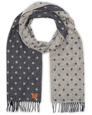 Amanda Christensen Merino Wool Doublefaced Woven Dot Scarf Blue