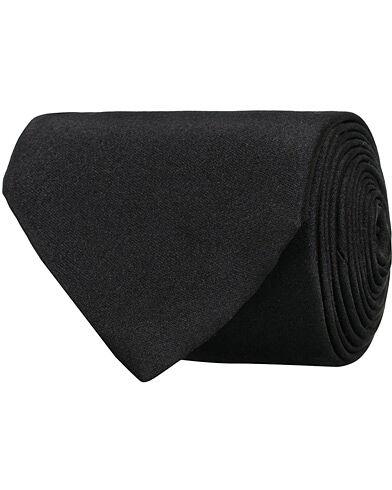 Amanda Christensen Plain Classic Satin Tie 8cm Black