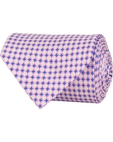 E. Marinella 3-Fold Printed Micro Pattern Silk Tie 8 Cm Lavender