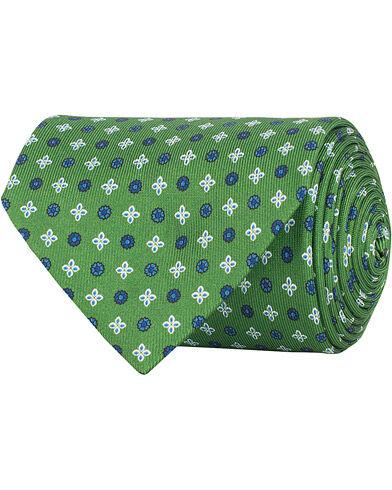 E. Marinella 3-Fold Printed Heritage Symbol Silk Tie 8 Cm Grass Green